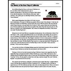 Print <i>The History of the Bear Flag of California</i> reading comprehension.