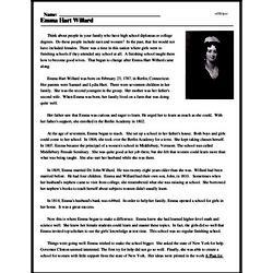 Print <i>Emma Hart Willard</i> reading comprehension.