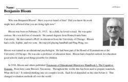 Print <i>Benjamin Bloom</i> reading comprehension.