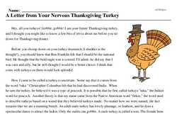 Print <i>A Letter from Your Nervous Thanksgiving Turkey</i> reading comprehension.