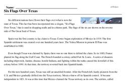 Print <i>Six Flags Over Texas</i> reading comprehension.