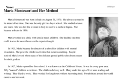 Print <i>Maria Montessori and Her Method</i> reading comprehension.