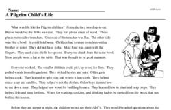 Print <i>A Pilgrim Child's Life</i> reading comprehension.