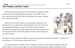 Print <i>The Monkey and the Camel</i> reading comprehension.