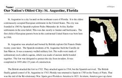 Print <i>Our Nation's Oldest City: St. Augustine, Florida</i> reading comprehension.