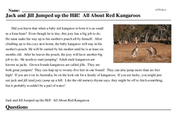 Print <i>Jack and Jill <i>Jumped</i> up the Hill! All About Red Kangaroos</i> reading comprehension.