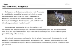 Print <i>Red (and Blue!) Kangaroos</i> reading comprehension.
