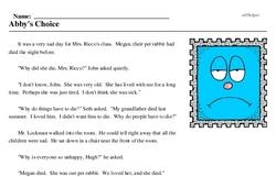 Print <i>Abby's Choice</i> reading comprehension.