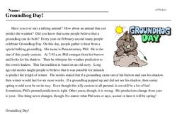Print <i>Groundhog Day!</i> reading comprehension.