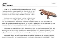 Print <i>Gila Monsters</i> reading comprehension.
