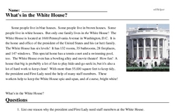 Print <i>What's in the White House?</i> reading comprehension.