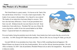 Print <i>The Picture of a President</i> reading comprehension.