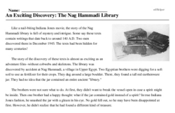 Print <i>An Exciting Discovery: The Nag Hammadi Library</i> reading comprehension.
