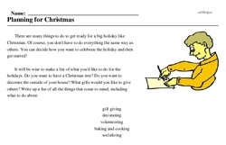 Print <i>Planning for Christmas</i> reading comprehension.