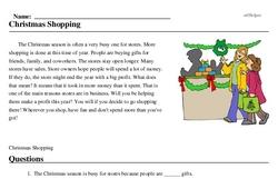 Print <i>Christmas Shopping</i> reading comprehension.