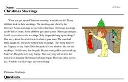Print <i>Christmas Stockings</i> reading comprehension.