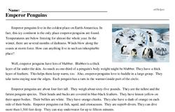 Print <i>Emperor Penguins</i> reading comprehension.