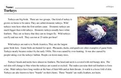 Print <i>Turkeys</i> reading comprehension.