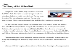 Print <i>The History of Red Ribbon Week</i> reading comprehension.