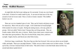 Print <i>Owls: Skillful Hunters</i> reading comprehension.