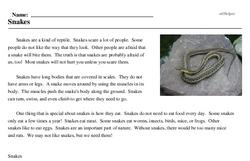 Print <i>Snakes</i> reading comprehension.