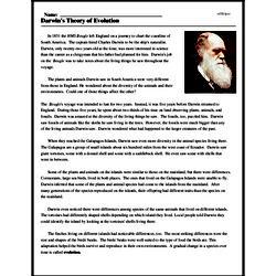 Print <i>Darwin's Theory of Evolution</i> reading comprehension.