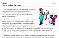 Print <i>How to Make a Snowman</i> reading comprehension.