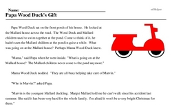 Print <i>Papa Wood Duck's Gift</i> reading comprehension.