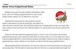 Print <i>Home Sweet Gingerbread Home</i> reading comprehension.