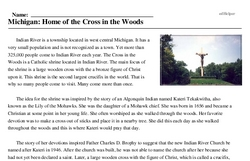 Print <i>Michigan: Home of the Cross in the Woods</i> reading comprehension.