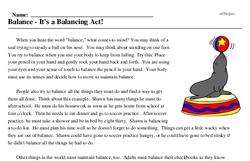 Print <i>Balance - It's a Balancing Act!</i> reading comprehension.