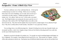 Print <i>Perspective - From A Bird's Eye View</i> reading comprehension.
