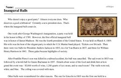 Print <i>Inaugural Balls</i> reading comprehension.