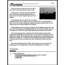 Print <i>A Formal Beginning</i> reading comprehension.