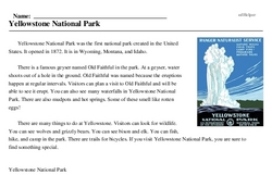 Print <i>Yellowstone National Park</i> reading comprehension.