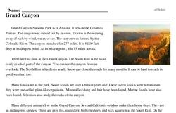 Print <i>Grand Canyon</i> reading comprehension.