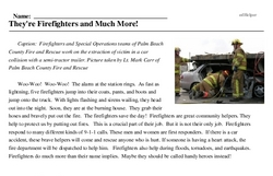 Print <i>They're Firefighters and Much More!</i> reading comprehension.