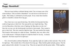 Print <i>Happy Hanukkah!</i> reading comprehension.