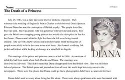 Print <i>The Death of a Princess</i> reading comprehension.