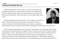 Print <i>Charlotte Hawkins Brown</i> reading comprehension.