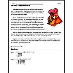 Print <i>The First Gingerbread Men</i> reading comprehension.