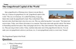 Print <i>The Gingerbread Capital of the World</i> reading comprehension.