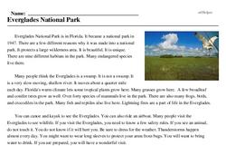 Print <i>Everglades National Park</i> reading comprehension.