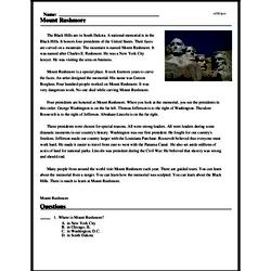 Print <i>Mount Rushmore</i> reading comprehension.