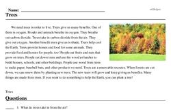 Print <i>Trees</i> reading comprehension.