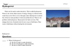 Print <i>Hydropower</i> reading comprehension.