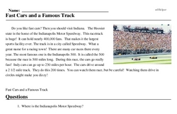 Print <i>Fast Cars and a Famous Track</i> reading comprehension.
