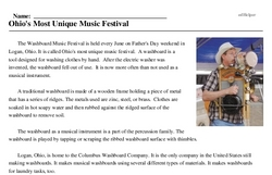 Print <i>Ohio's Most Unique Music Festival</i> reading comprehension.