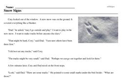 Print <i>Snow Signs</i> reading comprehension.