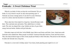 Print <i>Fruitcake - A Sweet Christmas Treat</i> reading comprehension.